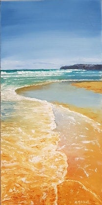 (CreativeWork) Surf and Sand, Newcastle  by Annmaree Mitchell. Oil Paint. Shop online at Bluethumb.