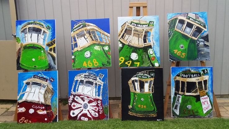 (CreativeWork) Footy trams by Patrick Brady. Acrylic Paint. Shop online at Bluethumb.
