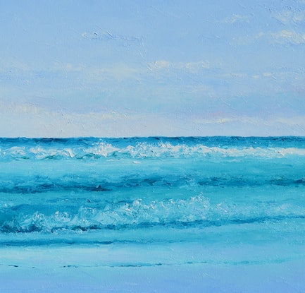 (CreativeWork) SAPPHIRE MORNING - SEASCAPE by Jan Matson. Oil Paint. Shop online at Bluethumb.