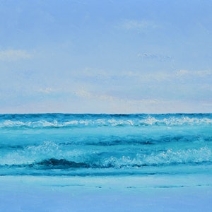 (CreativeWork) SAPPHIRE MORNING - SEASCAPE by Jan Matson. oil-painting. Shop online at Bluethumb.
