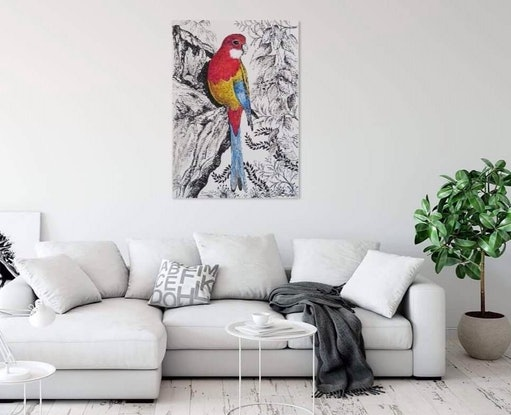 (CreativeWork) Eastern Rosella by Denise Balson. Mixed Media. Shop online at Bluethumb.