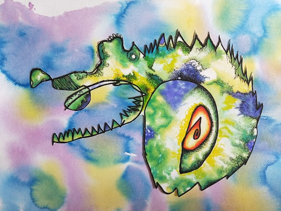 (CreativeWork) Crocosarous by Audrey Buttigieg Cardona. Drawings. Shop online at Bluethumb.