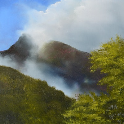 (CreativeWork) On the Way to Milford Sound by Elaine Green. oil-painting. Shop online at Bluethumb.