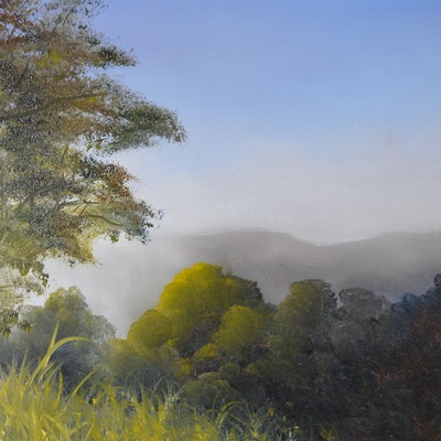 (CreativeWork) Distant Mist by Elaine Green. oil-painting. Shop online at Bluethumb.