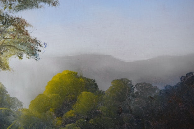 (CreativeWork) Distant Mist by Elaine Green. Oil Paint. Shop online at Bluethumb.