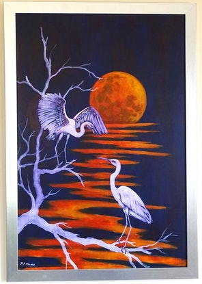 (CreativeWork) Egrets and Moonlight by Pam Hume. Acrylic Paint. Shop online at Bluethumb.