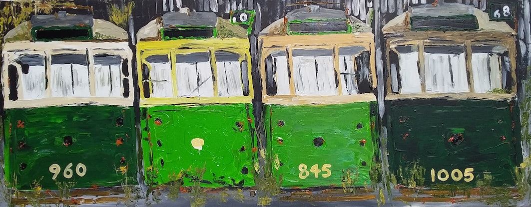 (CreativeWork) End of the Line by Patrick Brady. Acrylic Paint. Shop online at Bluethumb.
