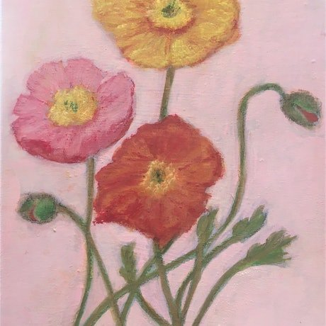(CreativeWork) Poppies by Tara Mai. Acrylic Paint. Shop online at Bluethumb.