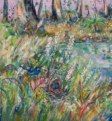 (CreativeWork) The water hole by Joanne Scriha. Oil Paint. Shop online at Bluethumb.