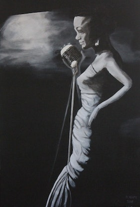 """(CreativeWork) """"The Jazz Singer"""" by Dennis Heape. Acrylic Paint. Shop online at Bluethumb."""