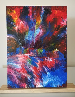 (CreativeWork) Cascade, Original Abstract, acrylic painting by Sylvia Nobes. Acrylic Paint. Shop online at Bluethumb.