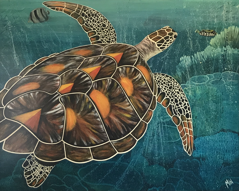 (CreativeWork) Tropical waters  by Min Philpot. Acrylic Paint. Shop online at Bluethumb.