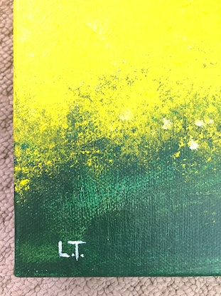 (CreativeWork) Past the Canola Fields by Lisa Turner. Acrylic Paint. Shop online at Bluethumb.