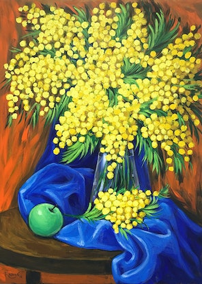 (CreativeWork) Mimosas and green apple still life by Irina Redine. Acrylic Paint. Shop online at Bluethumb.