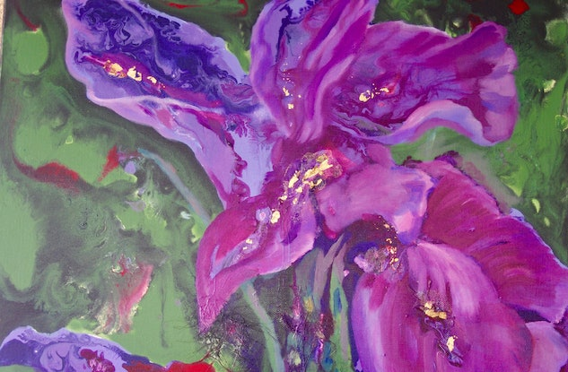 (CreativeWork) Iris Strength by Laurie Jean Cochrane. Acrylic Paint. Shop online at Bluethumb.