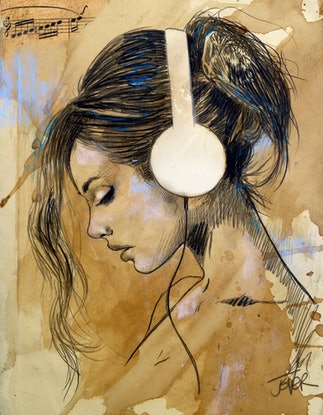 (CreativeWork) LISTEN by loui jover. Drawings. Shop online at Bluethumb.