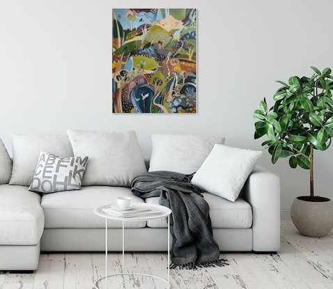 (CreativeWork)  Abstract Landscape  1 by Susan Trudinger. Acrylic Paint. Shop online at Bluethumb.