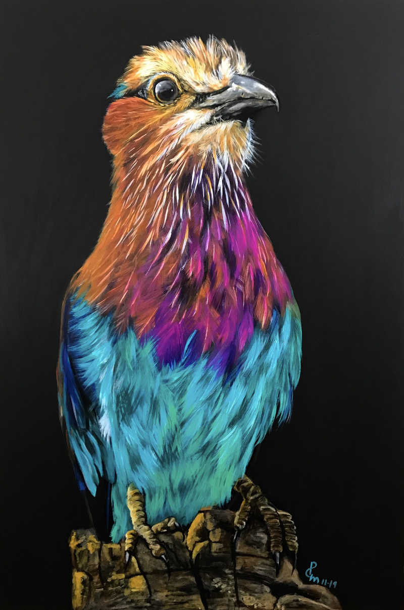 (CreativeWork) LILAC BREASTED ROLLER PORTRAIT by Priya Gore. Acrylic Paint. Shop online at Bluethumb.