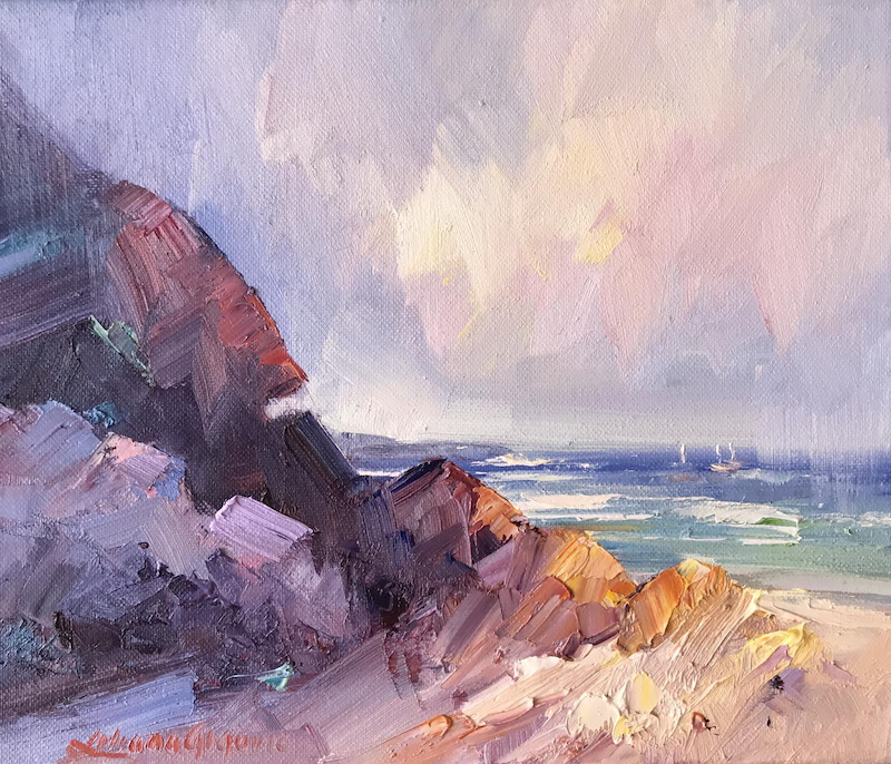 (CreativeWork) Portsea - The Back beach No 17 by Liliana Gigovic. Oil Paint. Shop online at Bluethumb.