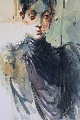 (CreativeWork) Portrait of a Lady by Tony Belobrajdic. Watercolour Paint. Shop online at Bluethumb.