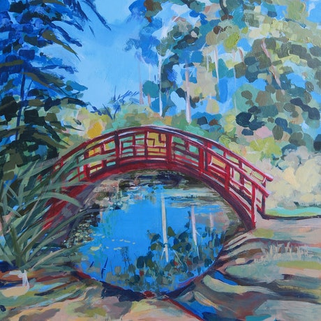 (CreativeWork) The Red Bridge (3) by Barbara Aroney. Acrylic Paint. Shop online at Bluethumb.