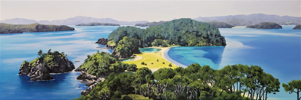 (CreativeWork) Paradise Isles by Jarrod Riggs. Oil Paint. Shop online at Bluethumb.