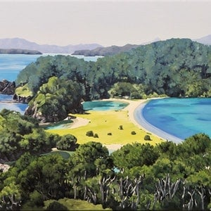(CreativeWork) Paradise Isles by Jarrod Riggs. oil-painting. Shop online at Bluethumb.