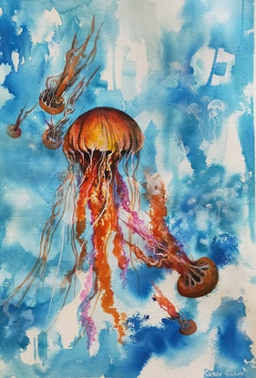 (CreativeWork) Sea Jellies by Cathy Gilday. Other Media. Shop online at Bluethumb.