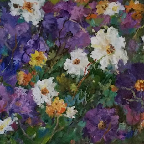 (CreativeWork) Petunia Patch Pals  by Joan Hancock. Oil Paint. Shop online at Bluethumb.