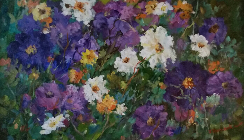 (CreativeWork) Petunia Patch Pals  by Joan Hancock. oil-painting. Shop online at Bluethumb.