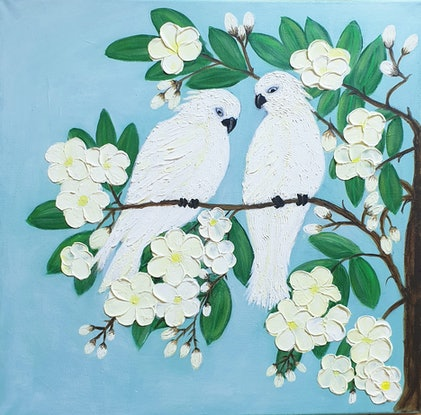 (CreativeWork) Cockatoos Sitting With Frangipanis by Niki K. Acrylic Paint. Shop online at Bluethumb.