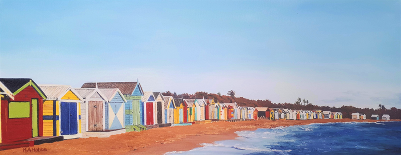 (CreativeWork) Brighton Bathing Boxes by M.A. Hobbs. Oil Paint. Shop online at Bluethumb.