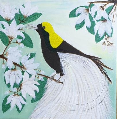 (CreativeWork) Bird of Paradise With Magnolias by Niki K. Acrylic Paint. Shop online at Bluethumb.