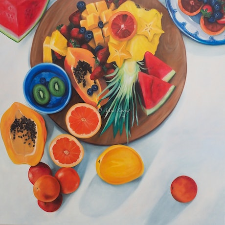 (CreativeWork) Perfect Sunday Mornings - original oil painting stilllife with fruit by Mia Laing. Oil Paint. Shop online at Bluethumb.