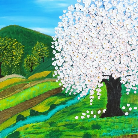 (CreativeWork) Cherry Blossom Tree Landscape by Niki K. Acrylic Paint. Shop online at Bluethumb.