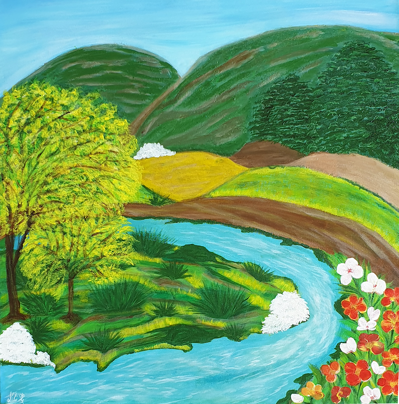 (CreativeWork) Riverside Mountains by Niki K. Acrylic Paint. Shop online at Bluethumb.