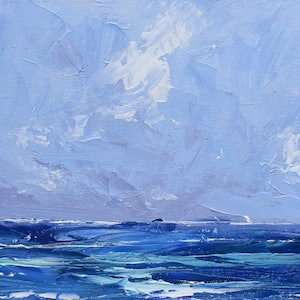 (CreativeWork) Fluid Sea - textured knife painting seascape by Mike Barr. acrylic-painting. Shop online at Bluethumb.