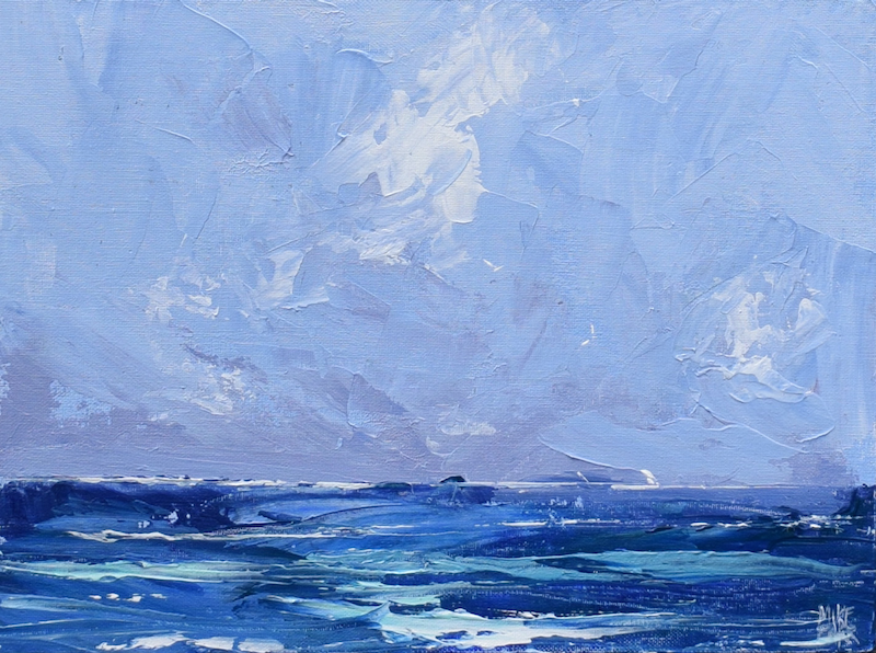 (CreativeWork) Fluid Sea - textured knife painting seascape by Mike Barr. Acrylic Paint. Shop online at Bluethumb.