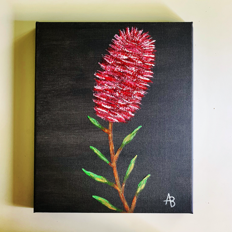 (CreativeWork) Bottlebrush by Abigail Beck. Acrylic Paint. Shop online at Bluethumb.