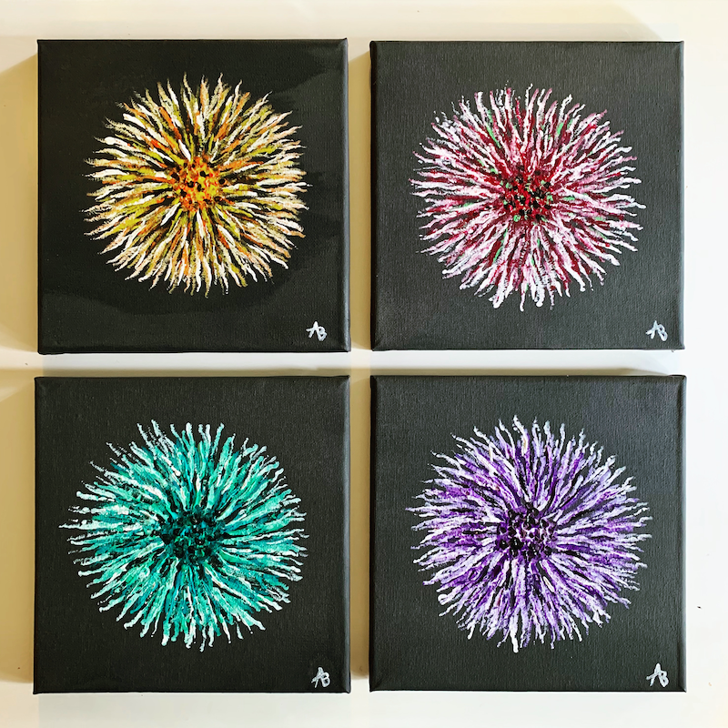 (CreativeWork) Set of 4 by Abigail Beck. Acrylic Paint. Shop online at Bluethumb.