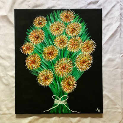 (CreativeWork) Funky Flower Bouquet  by Abigail Beck. Acrylic Paint. Shop online at Bluethumb.