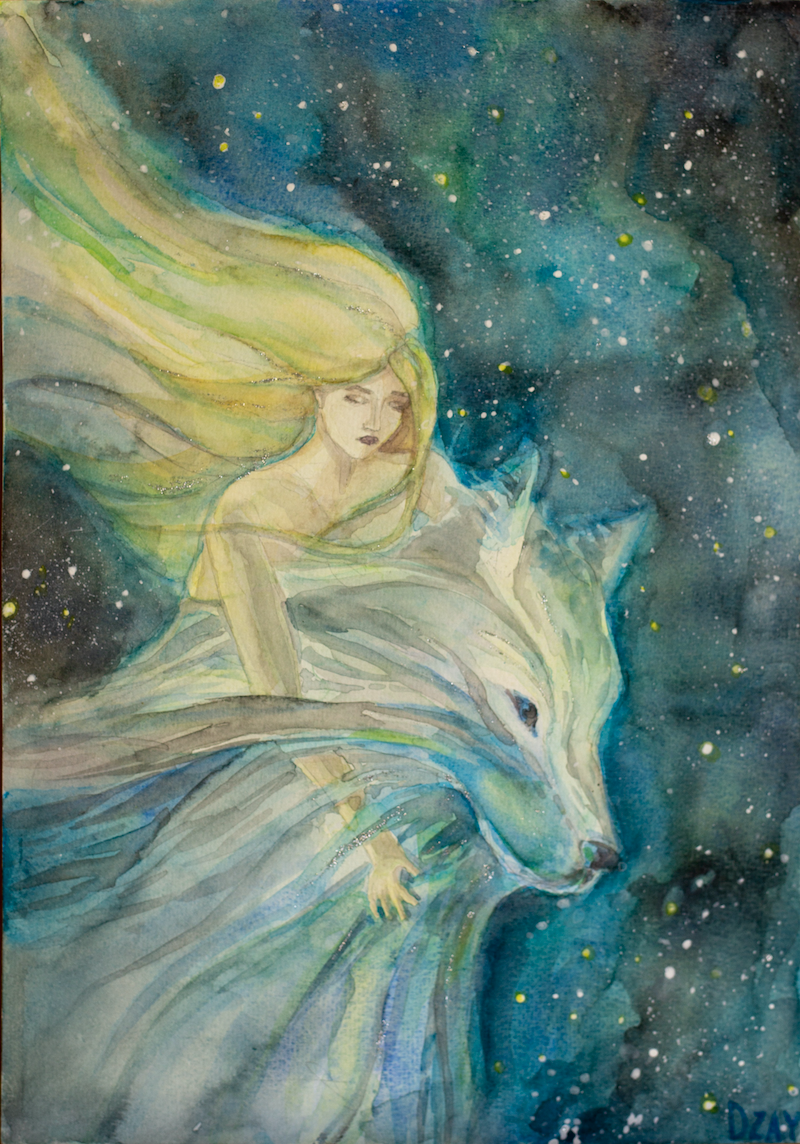 (CreativeWork) Silver Wolf by Dasha Zaytseva. Watercolour Paint. Shop online at Bluethumb.