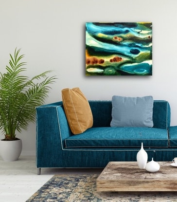 (CreativeWork) Aqueous Reef Flow VI – Original Abstract Painting by Jacquelyn Stephens. Acrylic Paint. Shop online at Bluethumb.