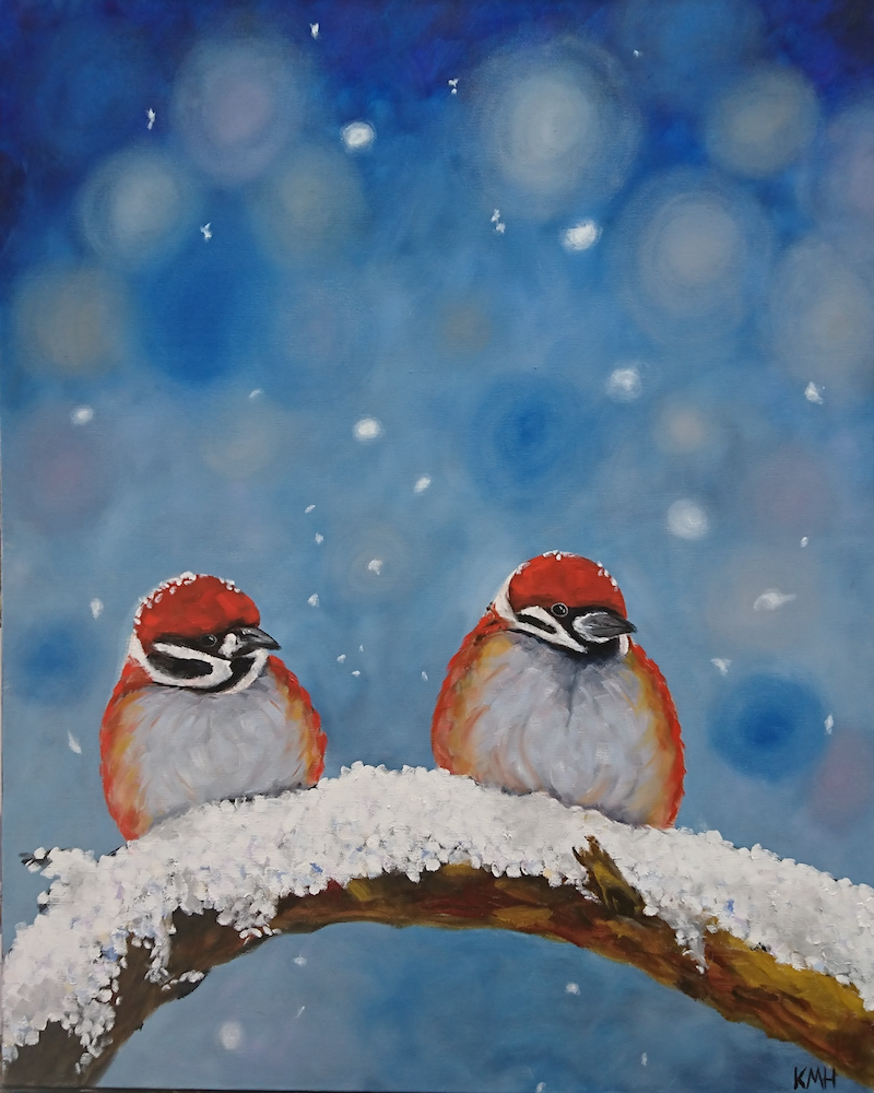 (CreativeWork) Snow Birds by Kate Hartwig. Oil Paint. Shop online at Bluethumb.