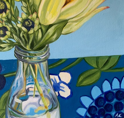 (CreativeWork) Blue Barkcloth at Kilgour Street - Vintage Series by Alicia Cornwell. Oil Paint. Shop online at Bluethumb.