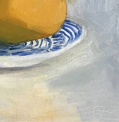 (CreativeWork) Mango and stripey plate by Jac Reynolds. Oil Paint. Shop online at Bluethumb.
