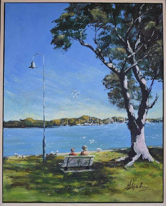 (CreativeWork) Shorncliffe Tranquility  by Kent Rojahn. Acrylic Paint. Shop online at Bluethumb.