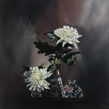 (CreativeWork) WHITE DAHLIAS by MERON SOMERS. Acrylic Paint. Shop online at Bluethumb.