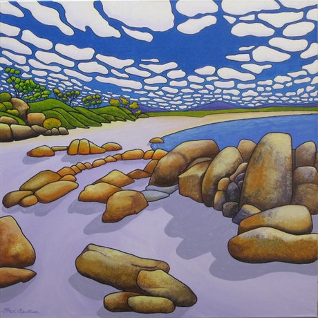 (CreativeWork) Rocky Bay 2 by Fred Bullen. Acrylic Paint. Shop online at Bluethumb.