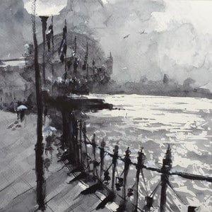 (CreativeWork) Sydney Harbour Bridge on  a Rainy Day by Bernd Rieve. watercolour. Shop online at Bluethumb.